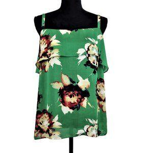 CAbi Size M Green 'Bloom Cami' Ruffle Tank Top